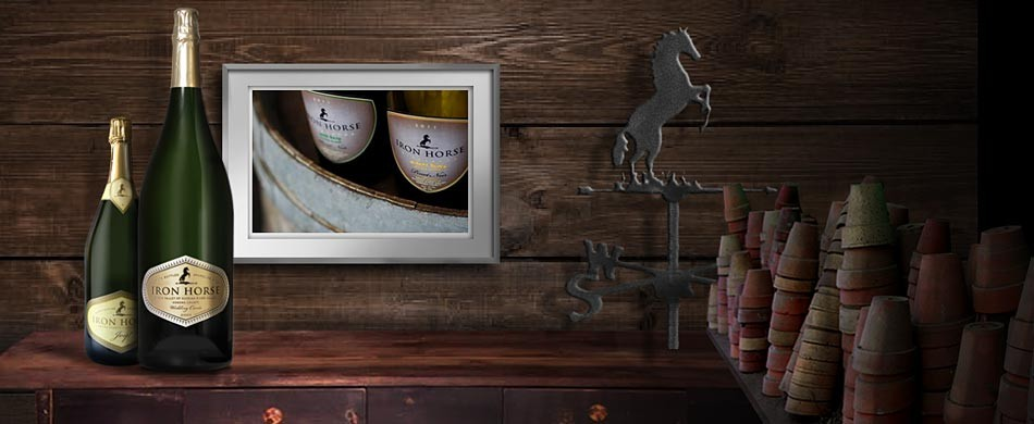 Bottles of wine in front of picture of wine a paneled wood